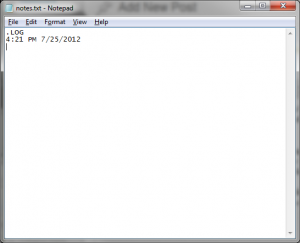 Notepad with .LOG and date