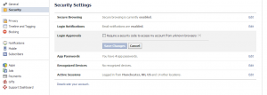 Facebook login approval security setting