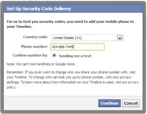 Facebook login approval phone input