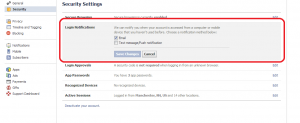 Facebook login notifications