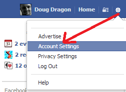 Account settings for Facebook