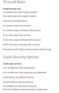 WordFence WordPress Security Settings; Firewall and Login Security