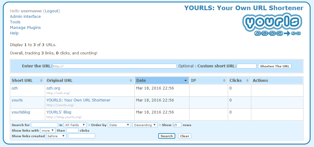 YOURLS link shortening service interface